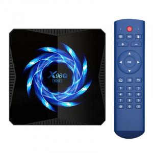 TV Box X96Q Max, 4K, Android 10, 4GB RAM, 64GB ROM, Allwinner H616 Quad-Core, Suport TV sau perete, WiFi, HDMI, Extensie IR0