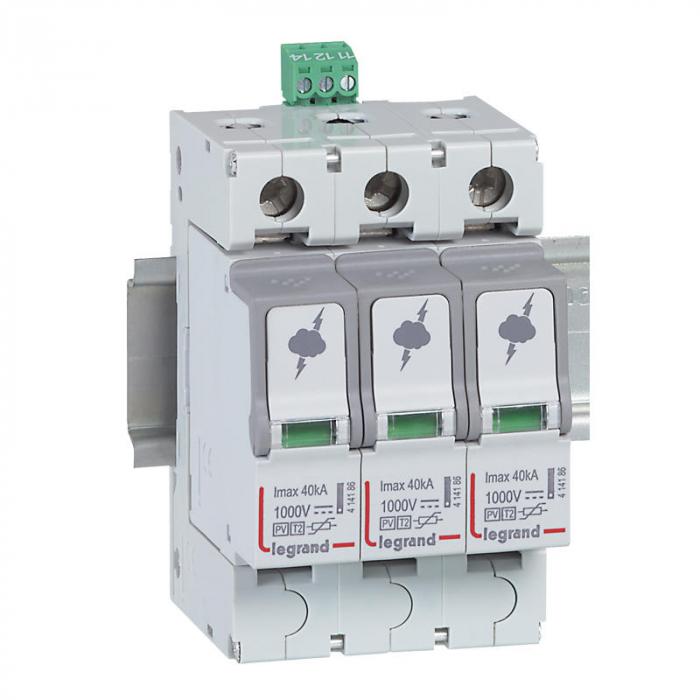 Siguranta Legrand fotovoltaica tip 2 - 2 poli protejate - 3 module - Imax 40 kA - 1000V 414156-big