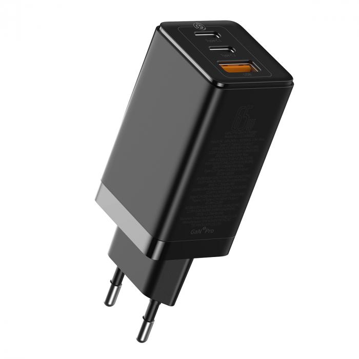 Incarcator priza Baseus, GaN, 2xUSB si 1xType-C, 65 W, cu cablu de date Type C, 100 W, 20V/5A, 1m, CCGAN2P-E01, Negru-big