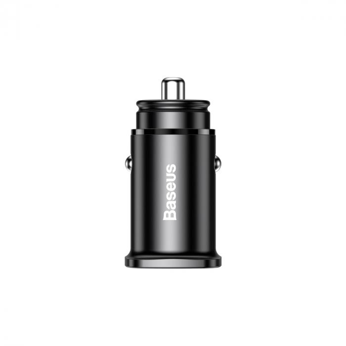 Incarcator Auto USB si Type-C Baseus Metal Dual Port 30W Black-big