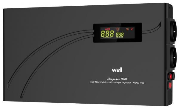 Stabilizator automat de tensiune cu releu Well 1500VA/900W AVR-REL-SLIMPOWER1500-WL-big
