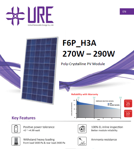 Panou solar Policristalin F6P275H3A URE 275W/60 de celule, 1640x992x35mm-big