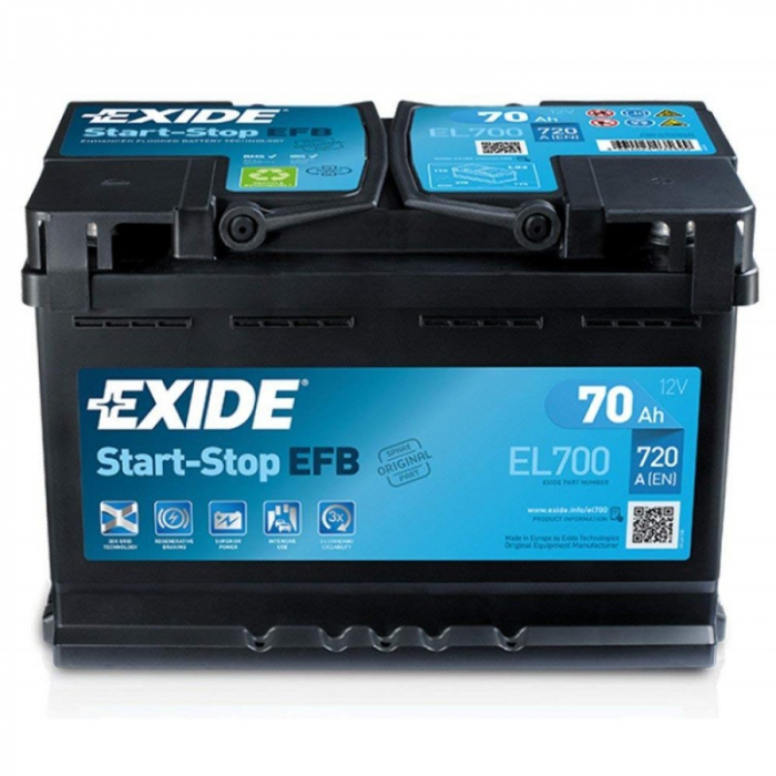 Acumulator Auto Exide EFB 70 Ah cod EL700 START-STOP-big