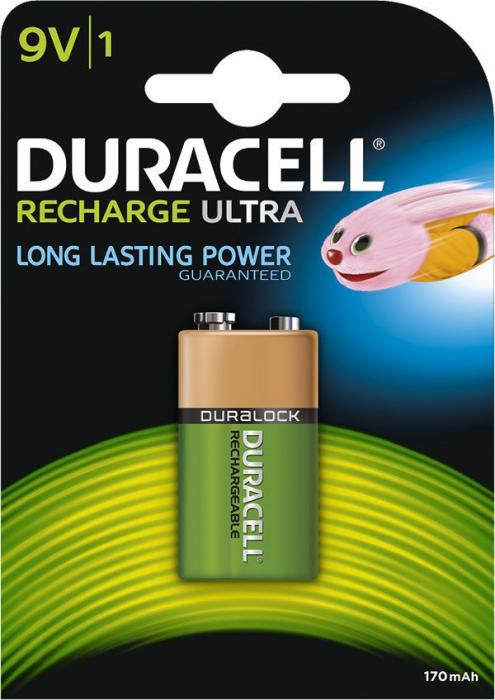 Acumulator Duracell Duralock 9V 170mAh, blister 1 buc-big