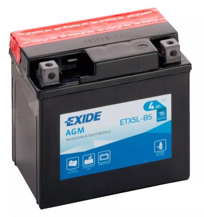 Acumulator Moto Exide cu AGM 12V 4 Ah YTX5L-BS-big