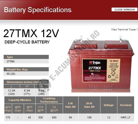 Acumulator Tractiune TROJAN 27 TMX Deep Cycle 12V 105 Ah-big