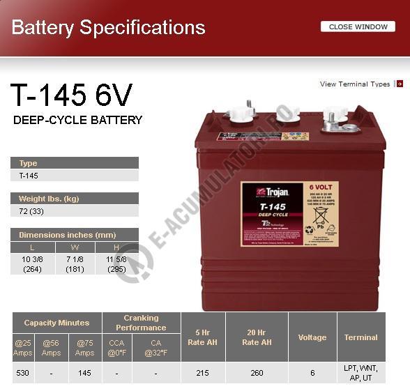 Acumulator TRACTIUNE TROJAN T-145 DEEP CYCLE 6V 260 Ah-big