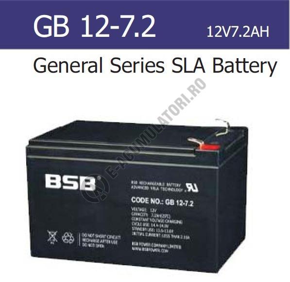 Acumulator VRLA BSB 12V  7.2 Ah cod GB12-7.2-big