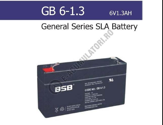 Acumulator VRLA BSB 6V 1.3 Ah cod GB6-1.3-big