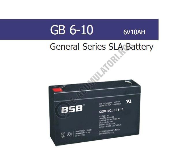 Acumulator VRLA BSB 6V 10 Ah cod GB6-10-big