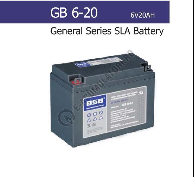 Acumulator VRLA BSB 6V 20 Ah cod GB6-20-big