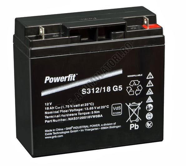 Acumulator VRLA Exide PowerFit 12V 18 AH (C20) S312/18G5-big