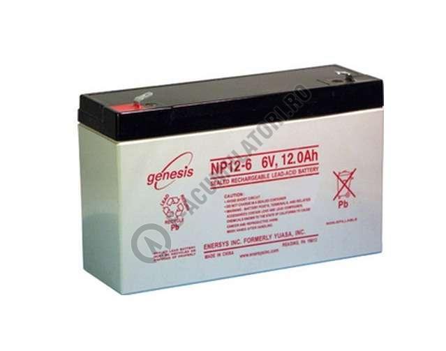 Acumulator VRLA GENESIS 6V 12 Ah NP12-6 cu conector Fast-on 6.35 mm-big