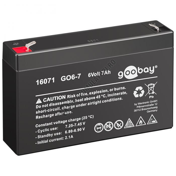 Acumulator VRLA Goobay 6V 7Ah GO6-7 cod 16071-big