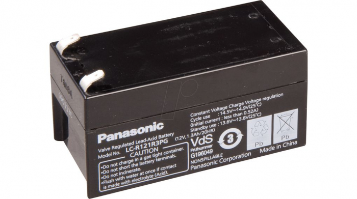 Acumulator VRLA Panasonic 12V 1,3 Ah cod LC-R121R3PG (F187)-big