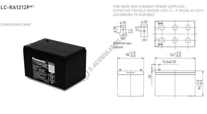Acumulator VRLA Panasonic 12V 12 Ah cod LC-RA1212PG1 (F250)-big