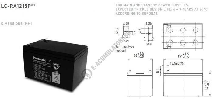Acumulator VRLA Panasonic 12V 15 Ah cod LC-RA1215P (F187)-big