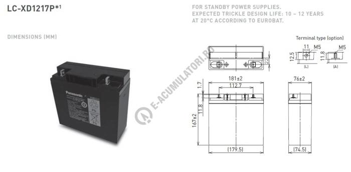 Acumulator VRLA Panasonic 12V 17 Ah cod LC-XD1217APG (M5 nut & threated post)-big