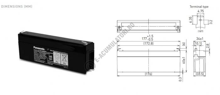 Acumulator VRLA Panasonic 12V 2,2 Ah cod LC-R122R2PG (F187)-big