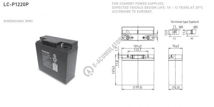 Acumulator VRLA Panasonic 12V 20 Ah cod LC-P1220P (M5 bolt)-big