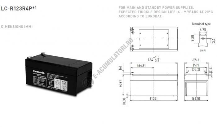 Acumulator VRLA Panasonic 12V 3,4 Ah cod LC-R123R4PG (F187)-big