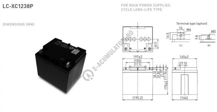 Acumulator VRLA Panasonic 12V 38Ah cod LC-XC1238P-big