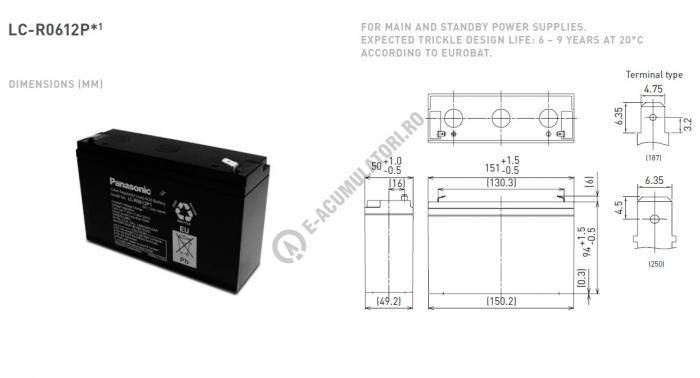 Acumulator VRLA Panasonic 6V 12 Ah cod LC-R0612P1 (F250)-big