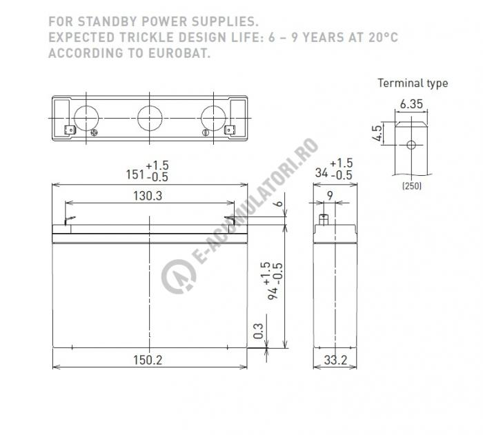Acumulator VRLA Panasonic 6V 135W  45W/celula cod UP-VW0645P1-big