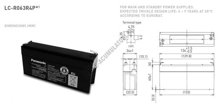 Acumulator VRLA Panasonic 6V 3.4Ah cod LC-R063R4P-big
