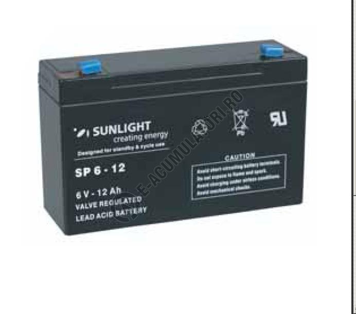 Acumulator VRLA SUNLIGHT 6V 12 Ah cod SPA 6-12-big