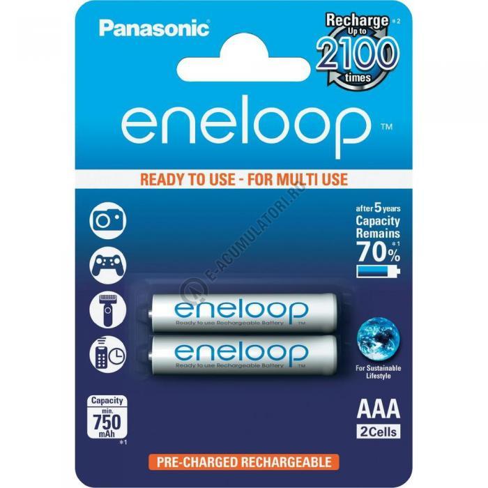 Acumulatori Panasonic Eneloop AAA 750mAh 2100 CICLURI preincarcati, blister 2 bucati BK-4MCCE/2BE-big