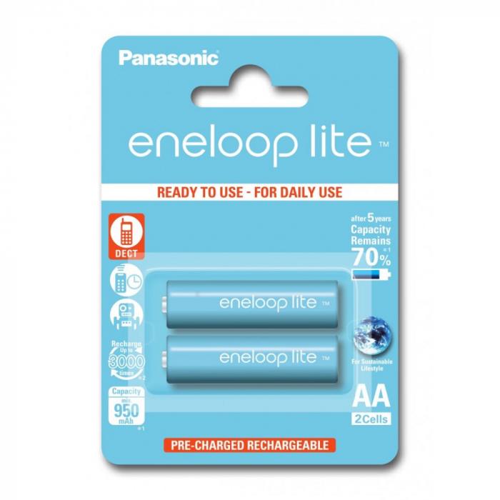 Acumulatori Panasonic Eneloop LITE AA, R6, 950mAh, 3000 cicluri, bl 2 buc, BK-3LCCE/2BE-big