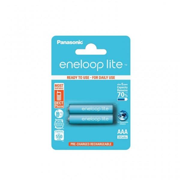 Acumulatori Panasonic Eneloop LITE AAA, R3,  550mAh, 3000 cicluri, bl 2 buc, BK-4LCCE/2BE-big
