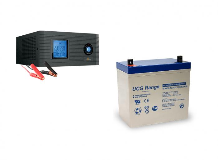 Pachet UPS pt centrala termica Aira 600VA 500W + Acumulator GEL 12V 55 Ah-big