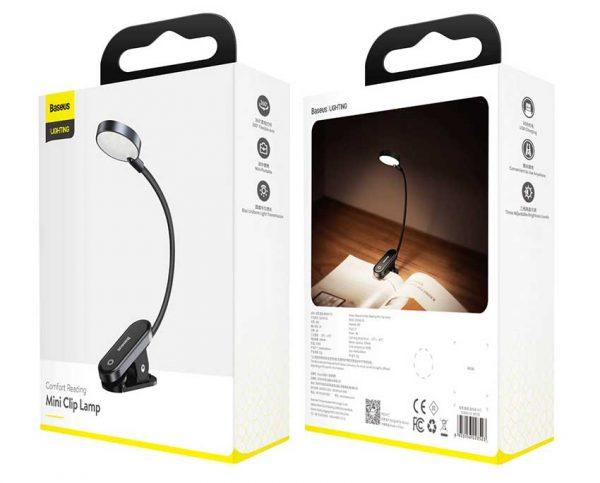 Lampa de Citit Baseus, Mini Led, Gri-big