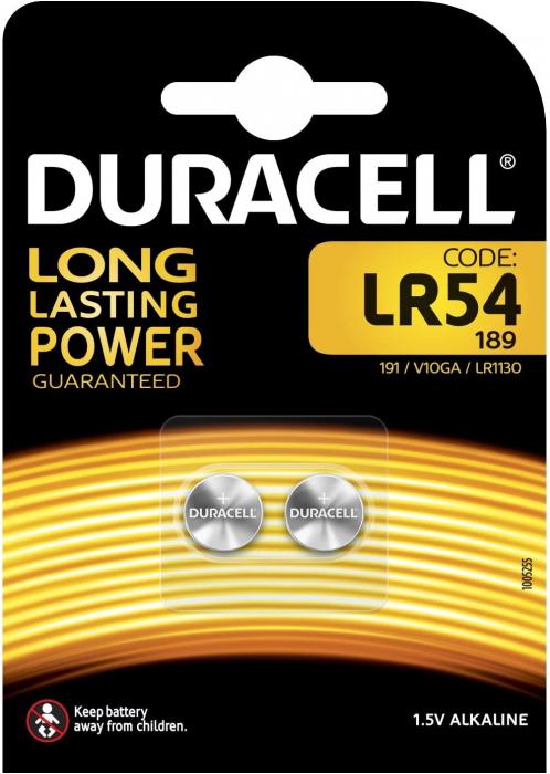 Baterie alcalina Duracell LR54 AG10 1.5V blister 2 buc-big