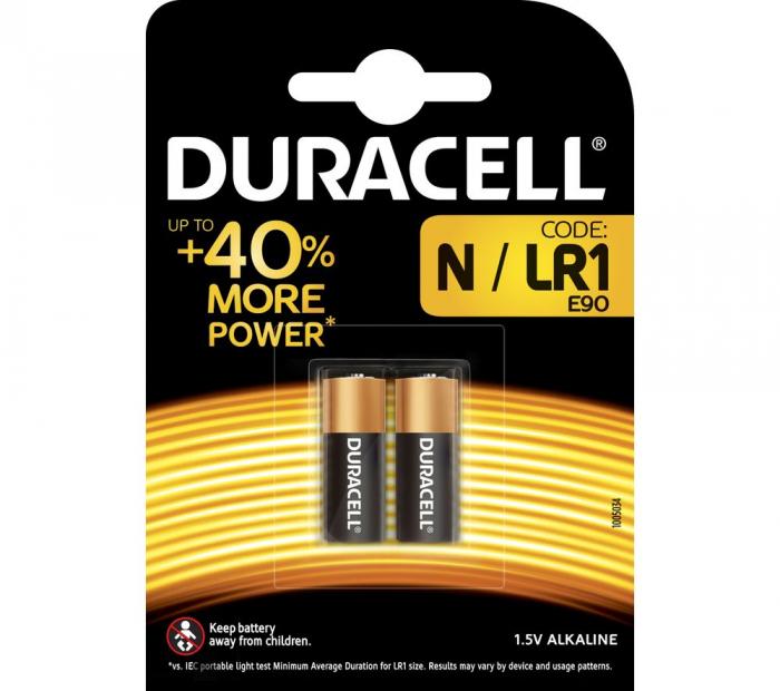 Baterie alcalina Duracell MN9100, LR1, dimensiunea N, blister 2 buc-big