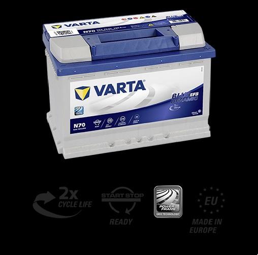 Baterie Auto VARTA START STOP EFB 70 Ah cod N70-big