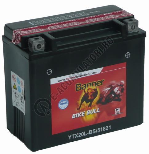 Baterie MOTO BANNER BIKE BULL AGM 12V 18 Ah YTX20L-BS cod 518 21-big