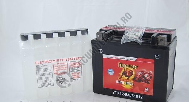 Baterie MOTO BANNER BIKE BULL AGM borne inverse 12V 10 Ah YTX12-BS cod 510 12-big