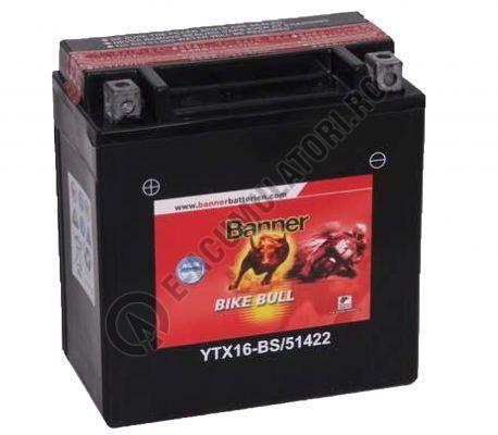 Baterie MOTO BANNER BIKE BULL AGM borne inverse 12V 14 Ah YTX16-BS cod 514 22-big