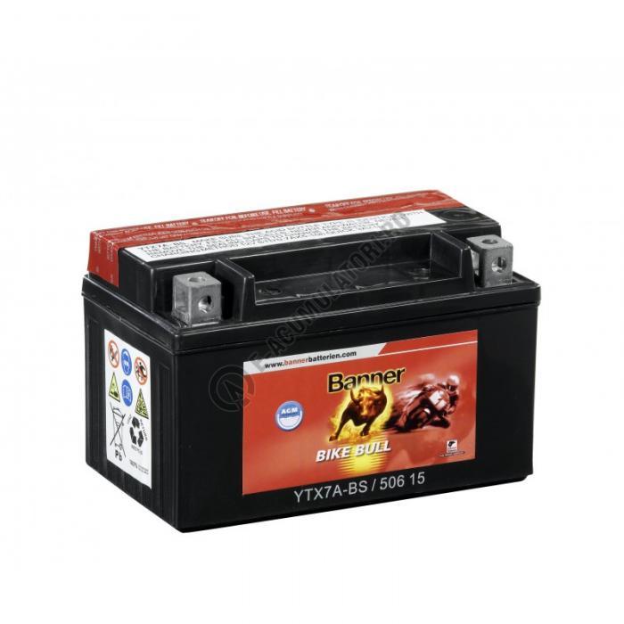 Baterie MOTO BANNER BIKE BULL AGM borne inverse 12V 6 Ah YTX7A-BS cod 506 15-big