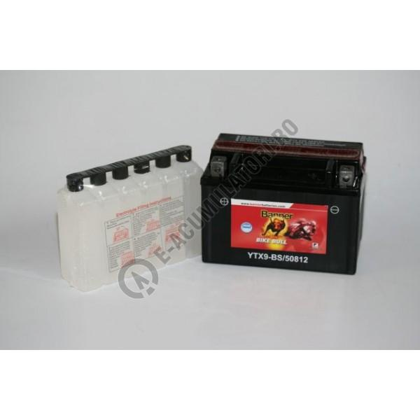 Baterie MOTO BANNER BIKE BULL AGM borne inverse 12V 8 Ah YTX9-BS cod 508 12-big