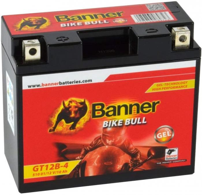 Baterie MOTO BANNER BIKE BULL AGM+SLA borne inverse 12V 10 Ah YT12B-BS cod 510 01-big
