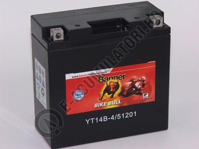 Baterie MOTO BANNER BIKE BULL AGM+SLA borne inverse 12V 12 Ah YT14B-BS cod 512 01-big
