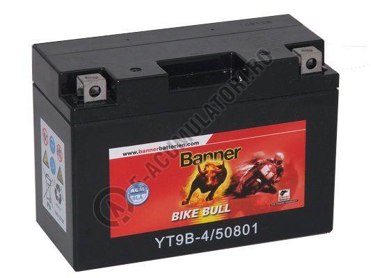 Baterie MOTO BANNER BIKE BULL AGM+SLA borne inverse 12V 8 Ah YT9B-4 cod 508 01-big