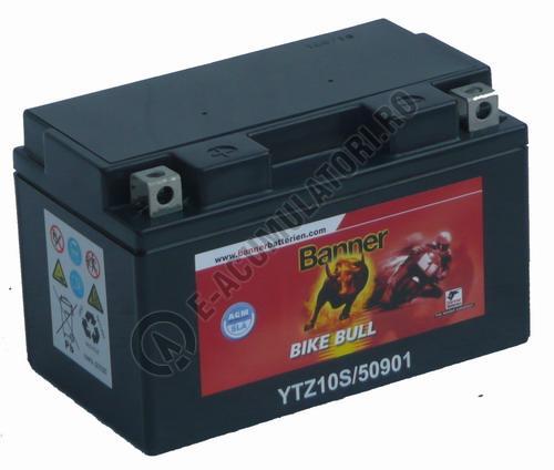 Baterie MOTO BANNER BIKE BULL AGM+SLA borne inverse 12V 9 Ah YTZ10S cod 509 01-big