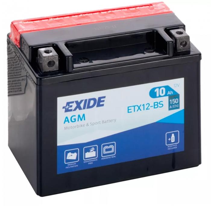 Acumulator Moto Exide cu AGM 12V 10 Ah borne inverse YTX12-BS-big