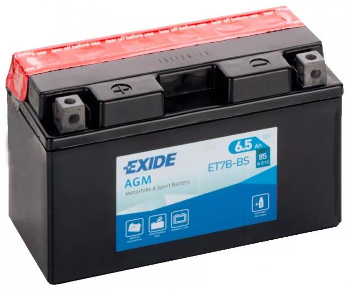 Acumulator Moto Exide cu AGM 12V 6.5 Ah borne inverse YT7B-BS-big