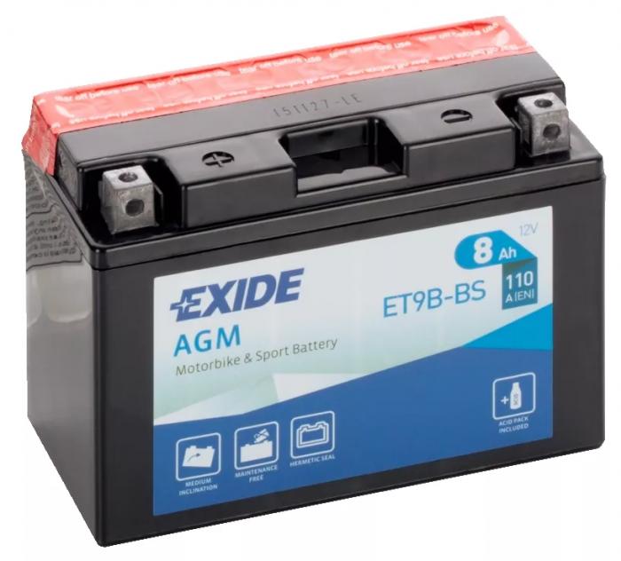 Acumulator Moto Exide cu AGM 12V 8 Ah borne inverse YT9B-BS-big